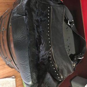 Handbags - Black leather cow hair embellished hobo bag
